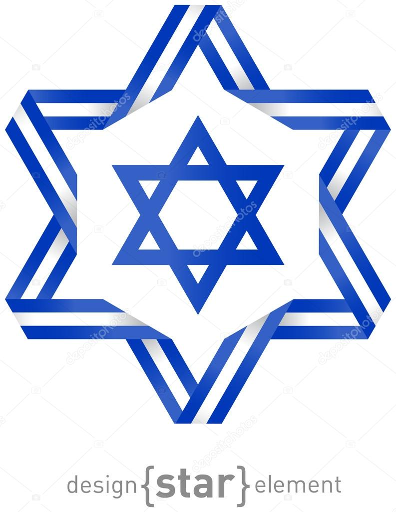 Star With Flag Of Israel Colors And Symbols Stock Photo