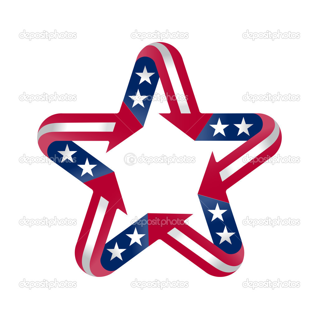 Star With American Flag Colors And Symbols Design Element Stock