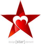 původní červená kovová hvězda se srdcem