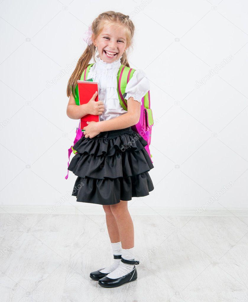 Cute Little Girl In School Uniform Stock Photo Tan4ikk 29528385