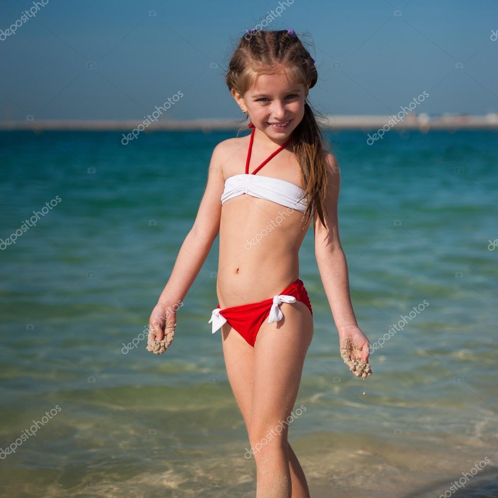 Young Little Girl Models Bikinis