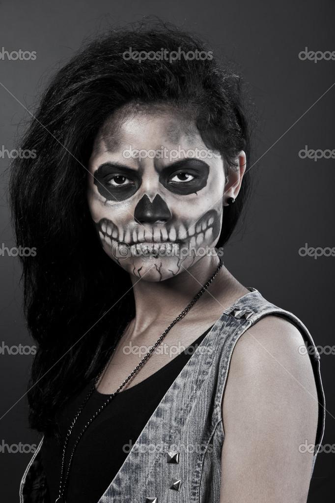 Junge Frau Im Tag Des Schadels Tot Maske Halloween Gesicht Kunst
