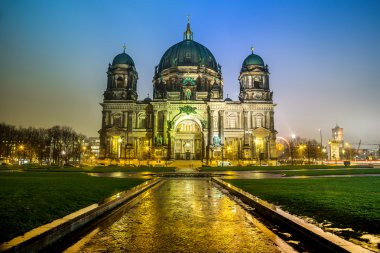 the Berliner Dom in the night in Berlin Germany