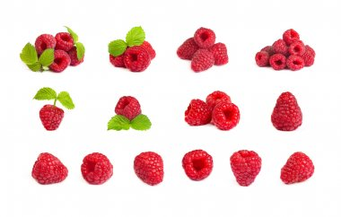 Set of a bunch of a red raspberry on a white background. Close u