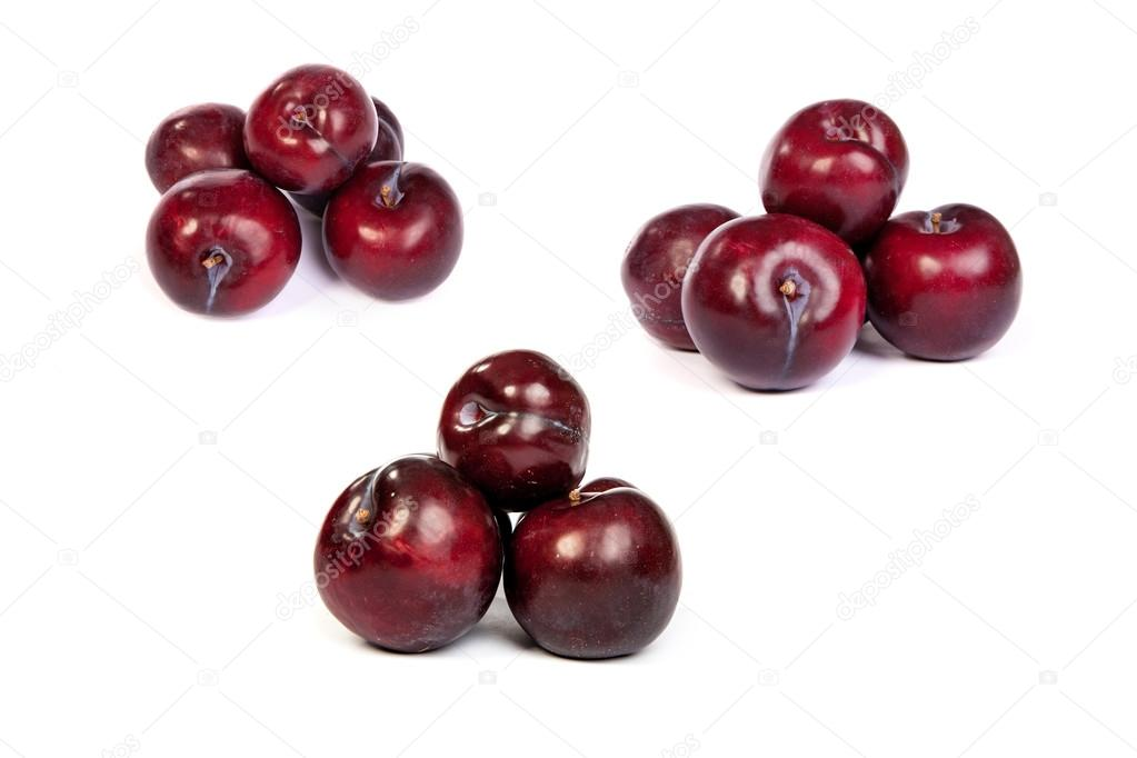 set of Group of plums on white