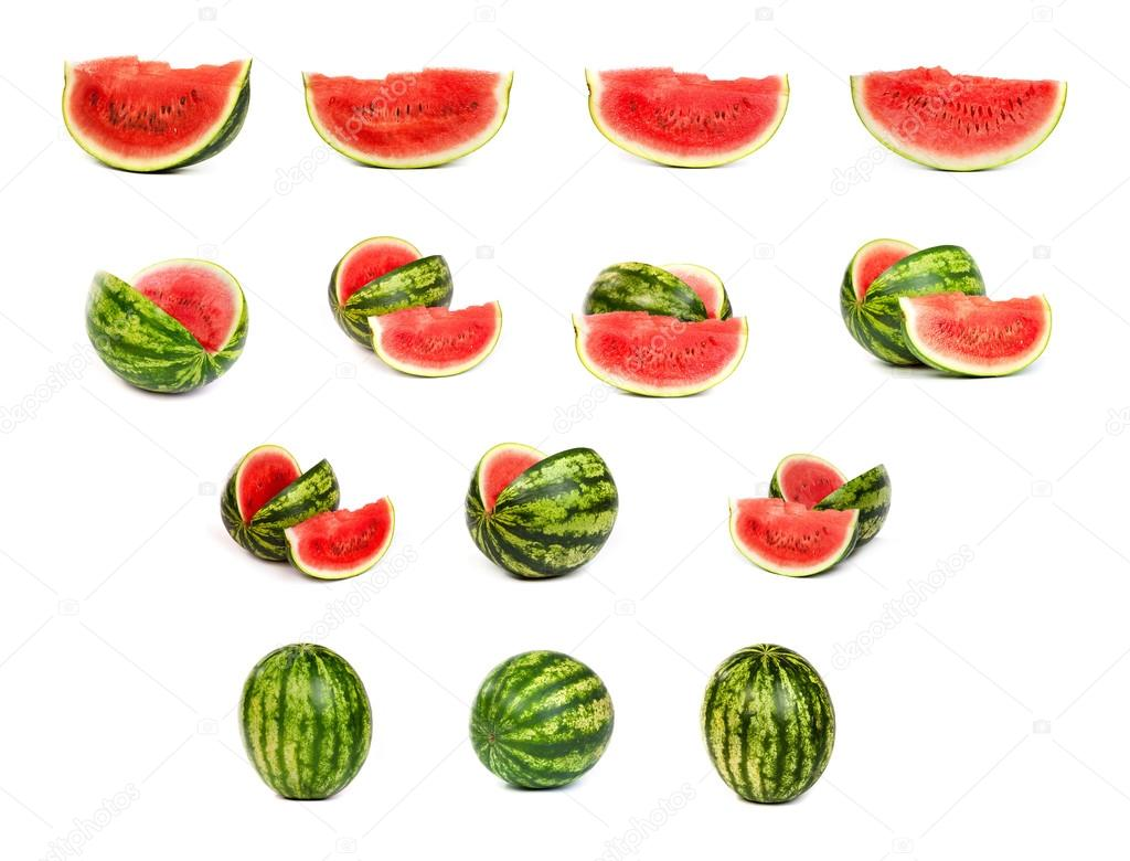 set of Watermelons isolated on white