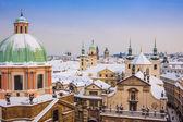 Praha v zimě, panorama a panoráma