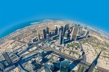 Dubai downtown. East, United Arab Emirates architecture. Aerial