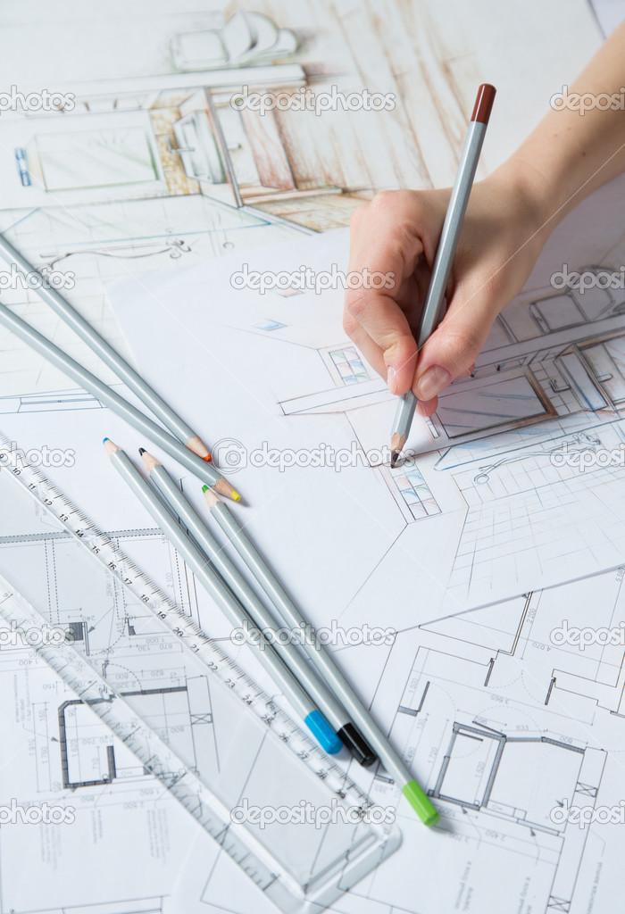 hand tekenen van details van het interieur — Stockfoto © gerasimov ...