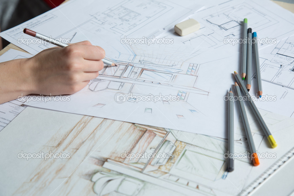 interior design hand drawings. Interior Designer Works On A Hand Drawing Sketch Using Color Pencils, Rule And Rubber \u2014 Photo By Gerasimov Design Drawings
