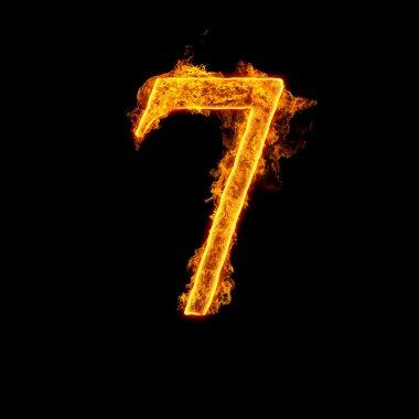 Fire alphabet number 7 seven