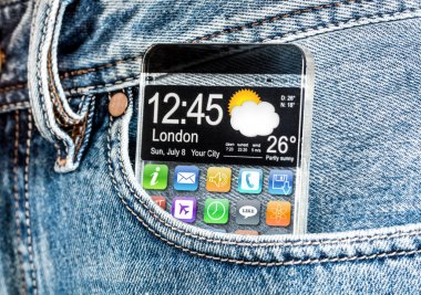 Smartphone with a transparent screen in a pocket of jeans.