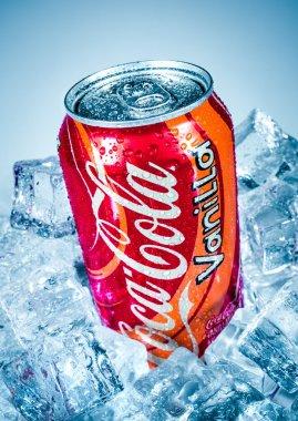 Can of Coca-Cola Vanilla on ice.