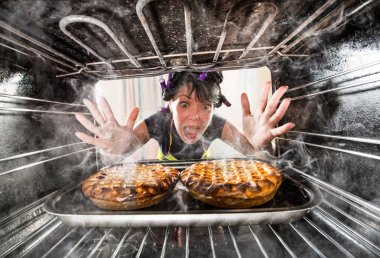 Funny chef perplexed and angry. Loser is destiny!