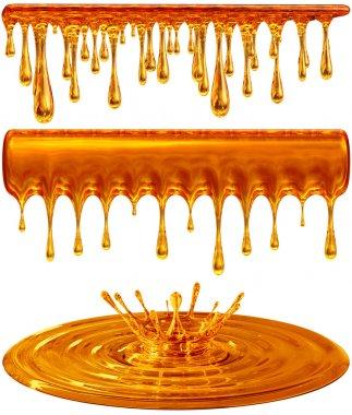 Dripping and splash golden honey or caramel