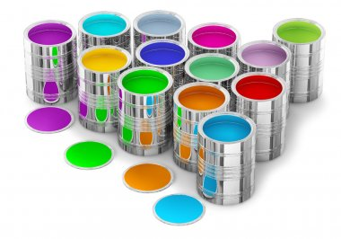Colorful paints in the cans