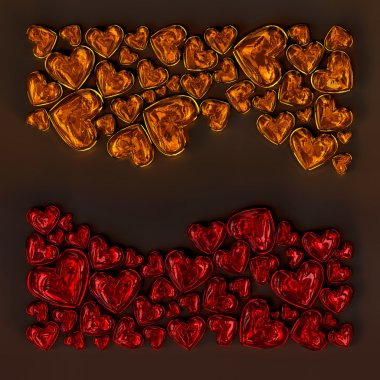 Red and orange glass hearts