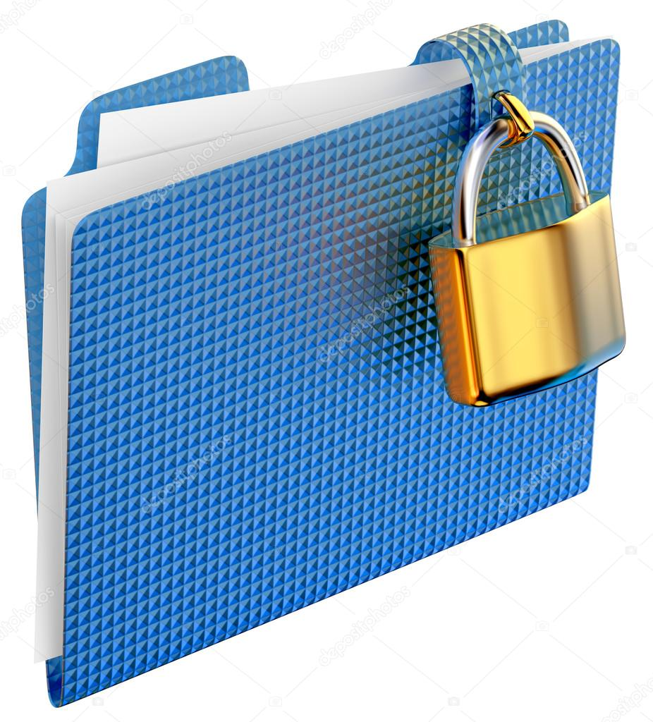 The blue folder with golden hinged lock