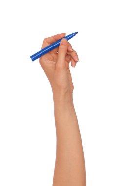 Businesswoman drawing scheme with blue felt-tip pen stock vector