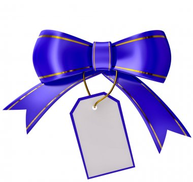 Blue Christmas bow with label