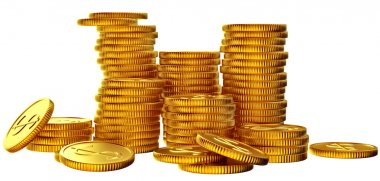 Stacks of gold dollar coins