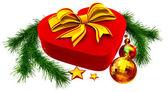 Fotografia albero di Natale giocattoli e regalo con fiocco dorato