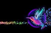 3D vykreslení colibri ptáka - kolibřík s hvězdami