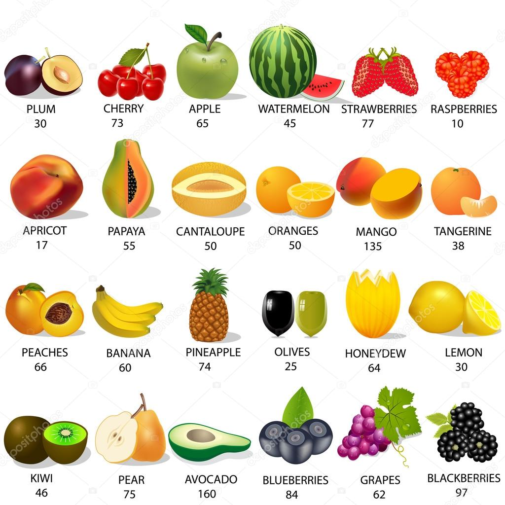 Set amount calories in fruit on white — Stock Vector ...