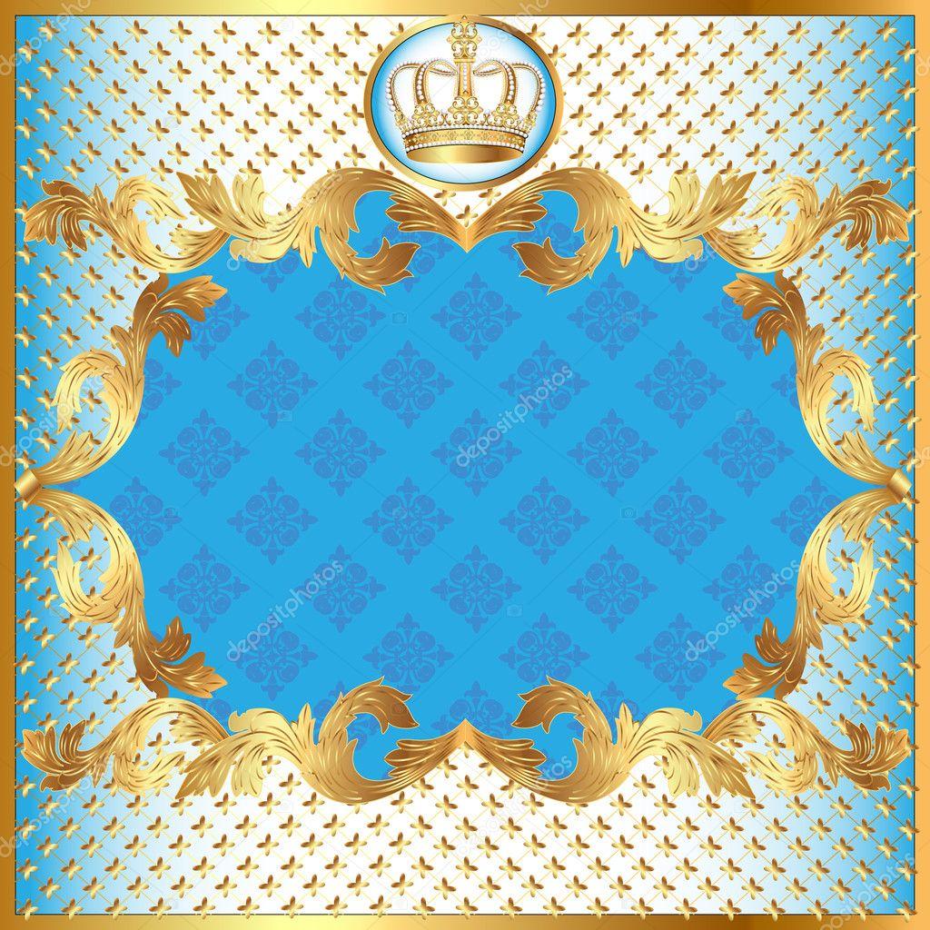 Fundo azul para padrão de convite ouro e coroa — Vetores ...