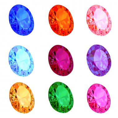 Illustration set of transparent gems on white