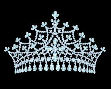 Feminine wedding tiara crown with tassels