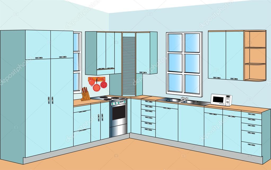 Mobili per interni delle cucine — Vettoriali Stock © Yurkina ...