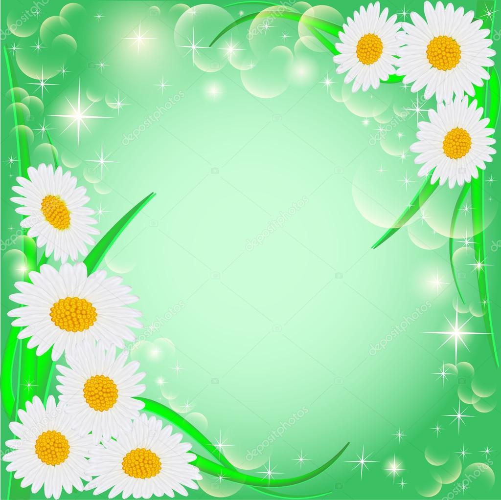 of a green background with daisies and stars