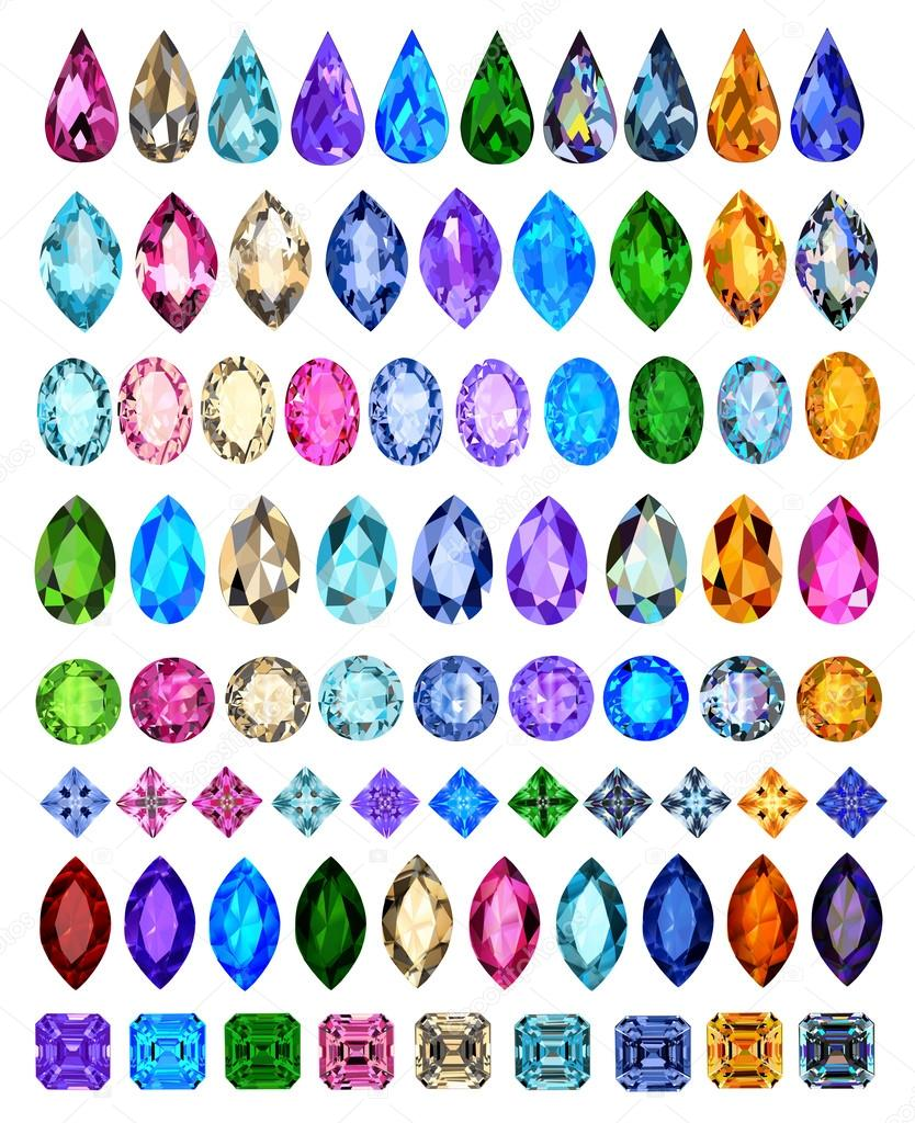 set of precious stones of different cuts and colors — Stock Vector ...