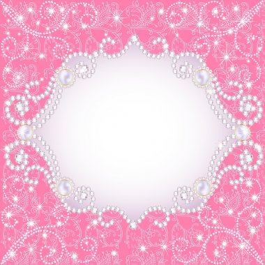 pink background with pearls, for inviting