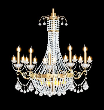 chandelier with crystal pendants on the black