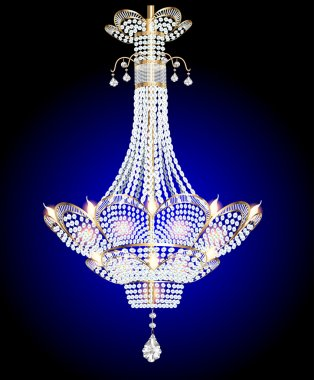 modern chandelier with crystal pendants on a blue