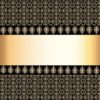 seamless background with band and frame with gold(en) pattern
