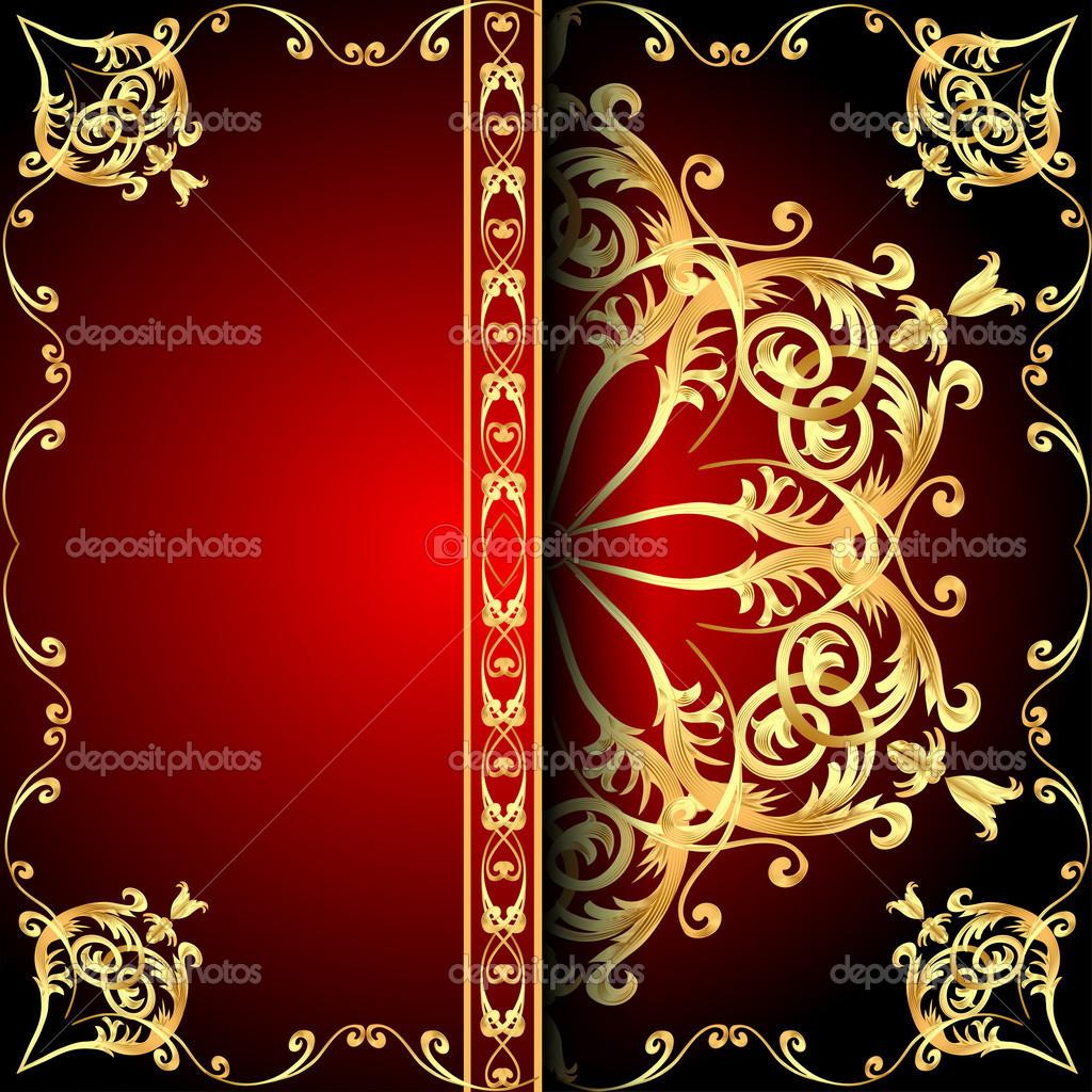 Ábrán látható háttér keret piros mintás gold(en) — Vektorok Yurkina szerint 924c5bea9b