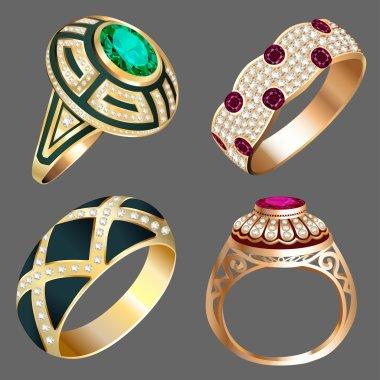 vintage ring set with precious stones