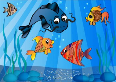 Llustration of the fish in undersea world