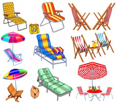 of a set of chairs, sun beds and umbrellas for the beach.