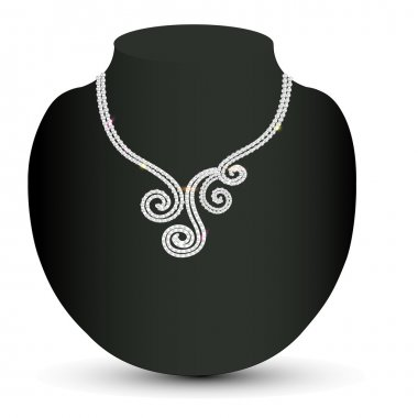 female necklace with a diamond spirals