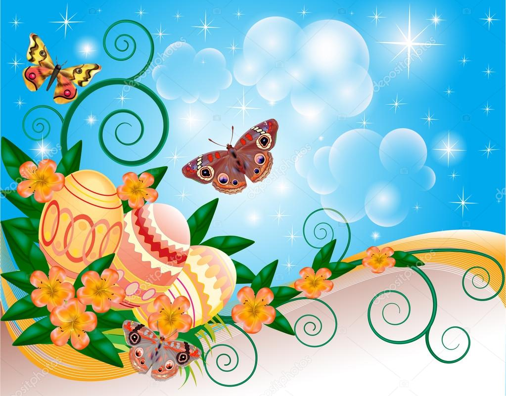 background with butterflies and flowers eggs