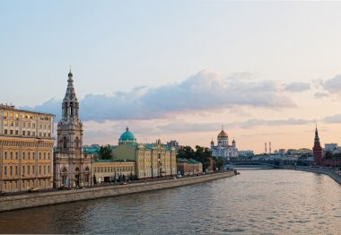 Russia, Moscow, day view of the Moskva River, Bridge and the Kremlin