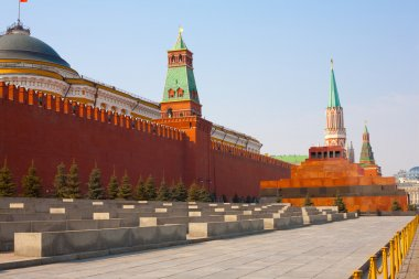 Day view of the Red Square, Moscow Kremlin and Lenin mausoleum, Moscow, Russia