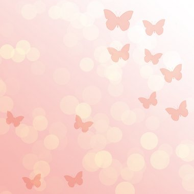 Pink gradient abstract background with butterflies