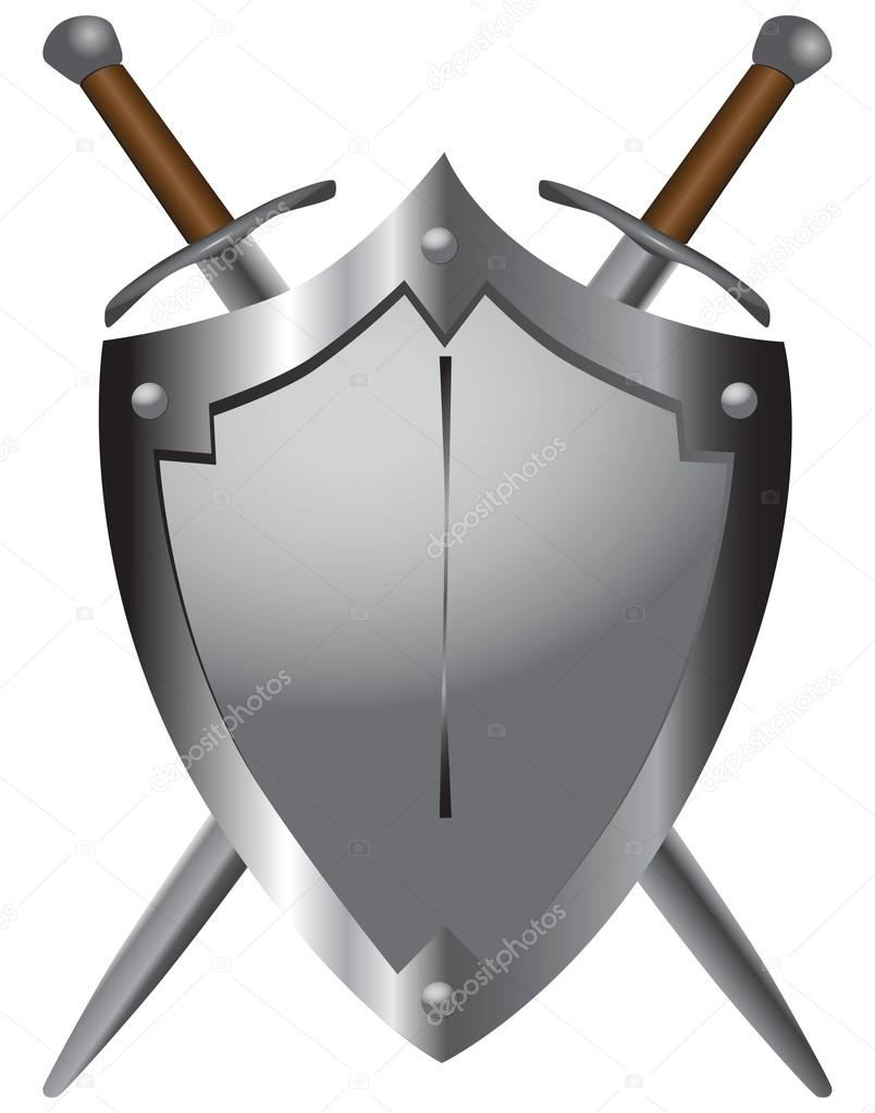 Medieval swords with shield
