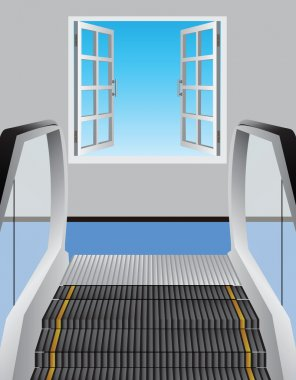 Escalator and open window