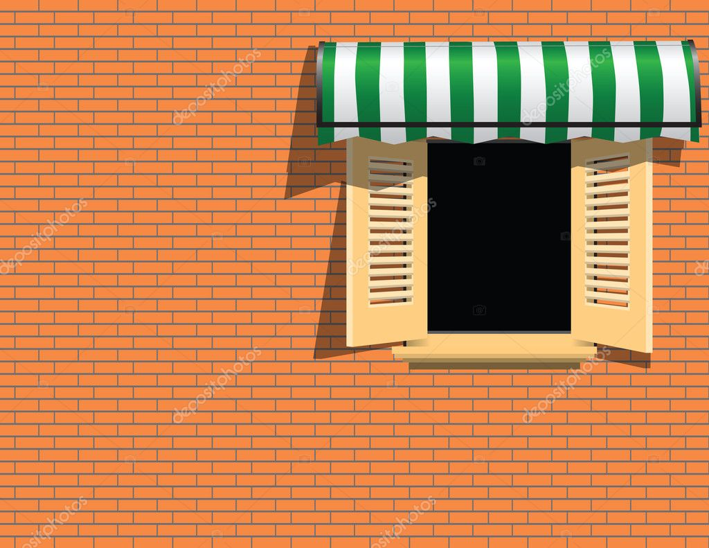 Window with awning over it
